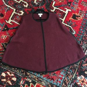 Burgundy and Black Trimmed Poncho